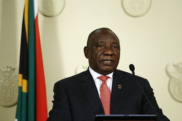 President Cyril Ramaphosa addresses the nation following a special cabinet meeting on matters relating to the COVID-19 epidemic. (Photo by Phill Magakoe / AFP)
