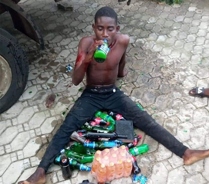 He was forced to drink the alcohol he stole from a