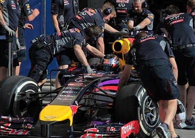 <b>WORKING ROUND THE CLOCK:</b> Red Bull has just over a week to resolve its car-woes before the start of the Australian GP on March 16. <i>Image: AP/Hasan Jamali</i>