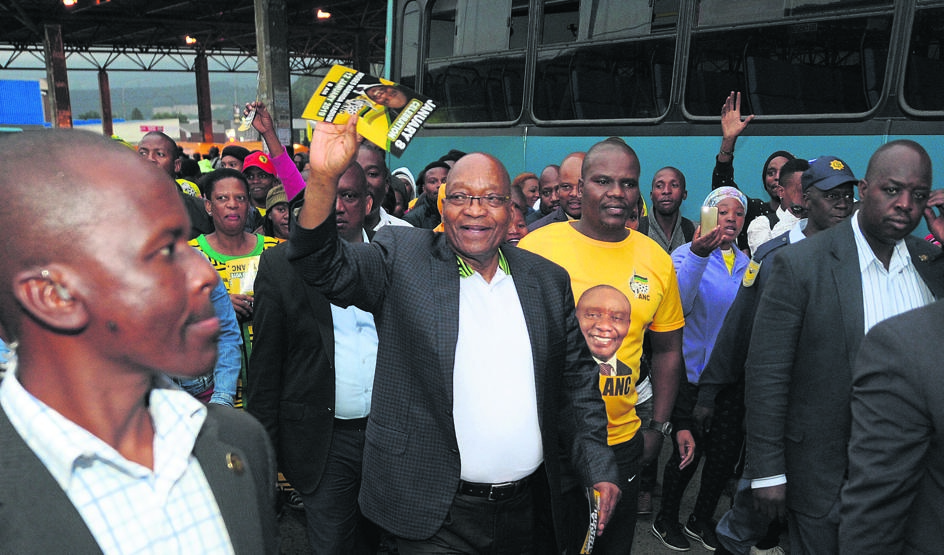 Former president Jacob Zuma on the campaign trail at eMatsheni taxi rank on Monday evening.