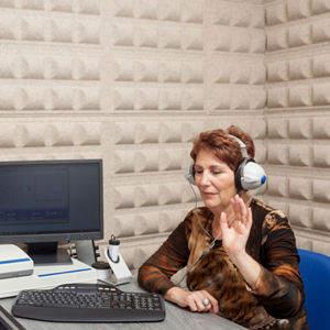 woman having hearing tested