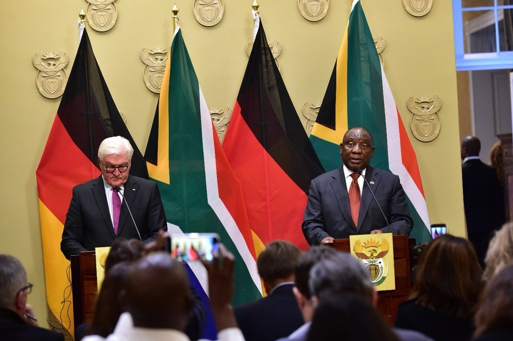 German president Frank-Walter Steinmeier and South African president Cyril Ramaphosa during a visit to Tuynhuys in Cape Town. Picture: Twitter/@PresidencyZA