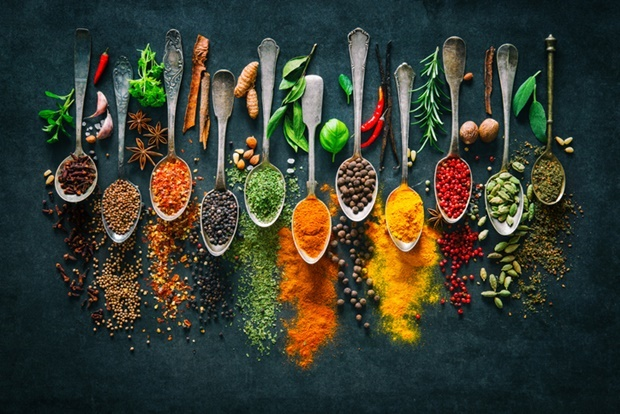 Colourful various herbs and spices for cooking on