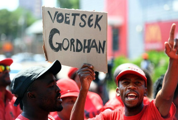 EFF supporters protest outside the Zondo commissio