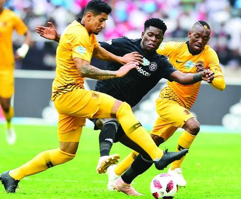 Kaizer Chiefs' Leonardo Castro and Khama Billiat try to sandwich Nyasha Munetsi of Orlando Pirates in yesterday's Telkom Knockout semifinal in Durban. Picture: Bakone Pix