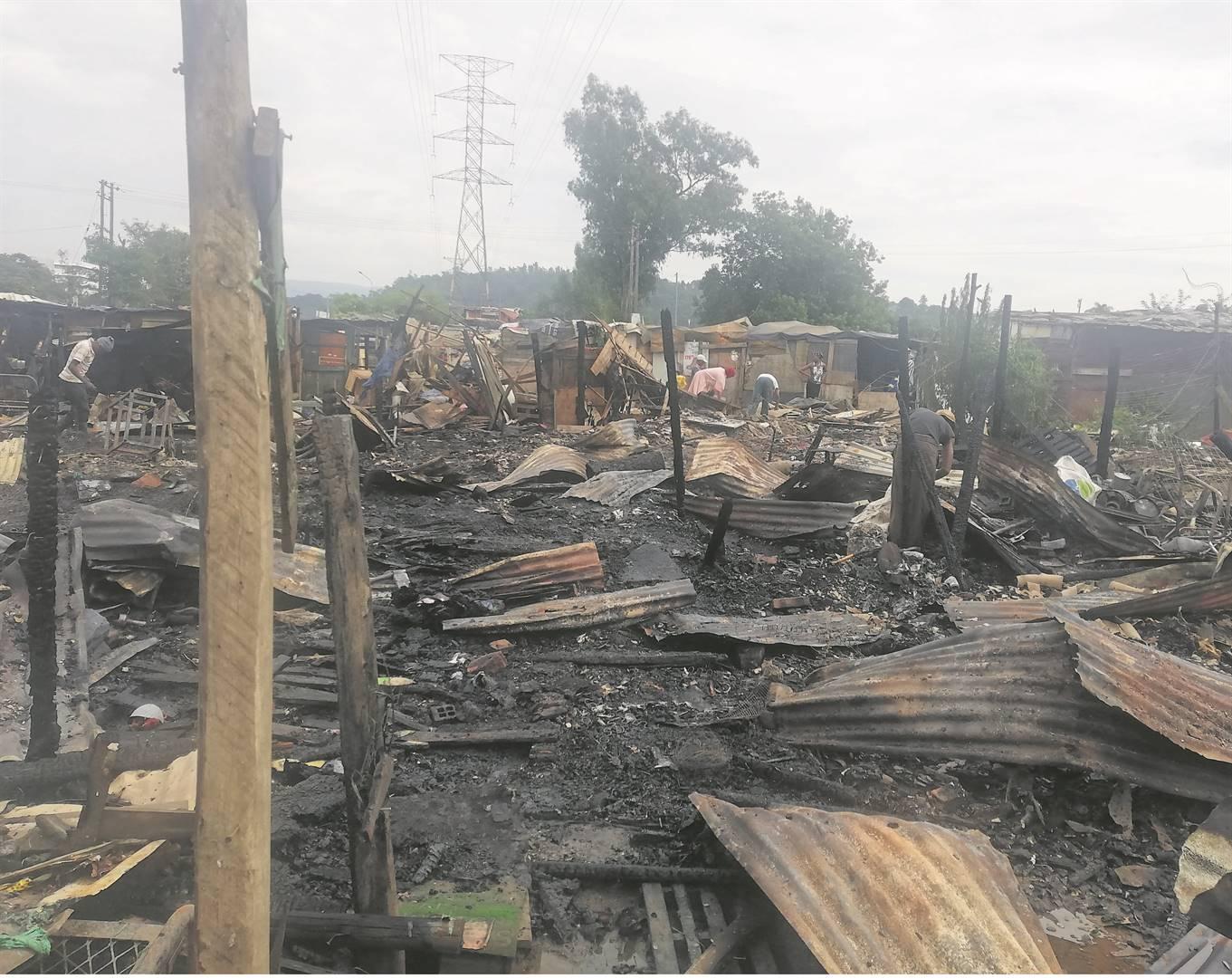 Remains at Jika Joe following the fire.PHOTOS: lethiwe makhanya