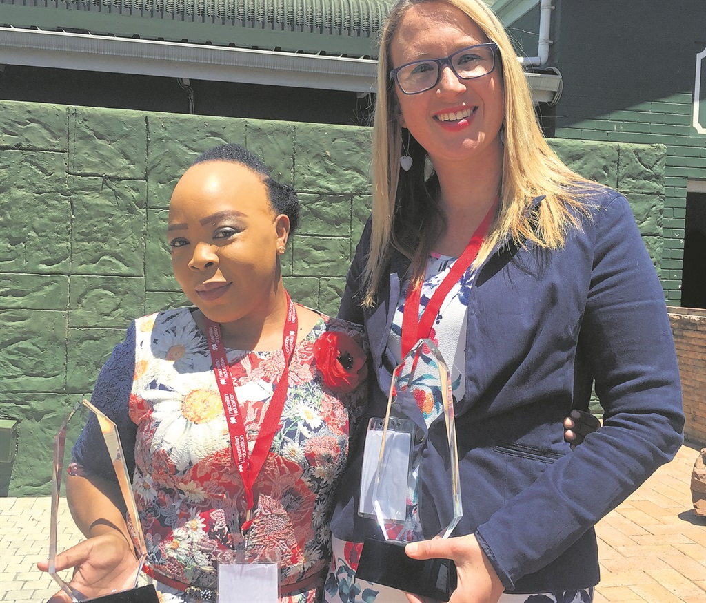 uMgungundlovu District teachers Gugu Mkhize and Tamara Cameron, who were awarded for their excellence in the classroom at the provincial National Teaching Awards.