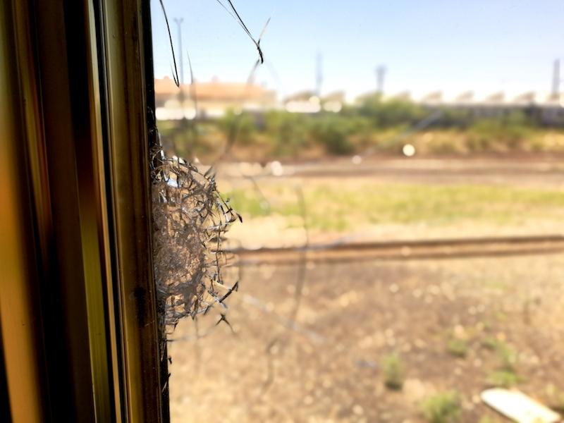 Blue Train cracked window