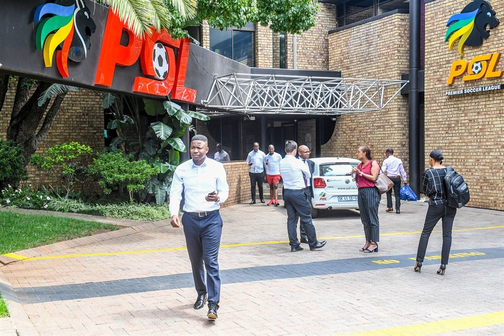 Outside the PSL offices during the PSL exco and press conference on March 16 in Johannesburg. Picture: Sydney Seshibedi/Gallo Images
