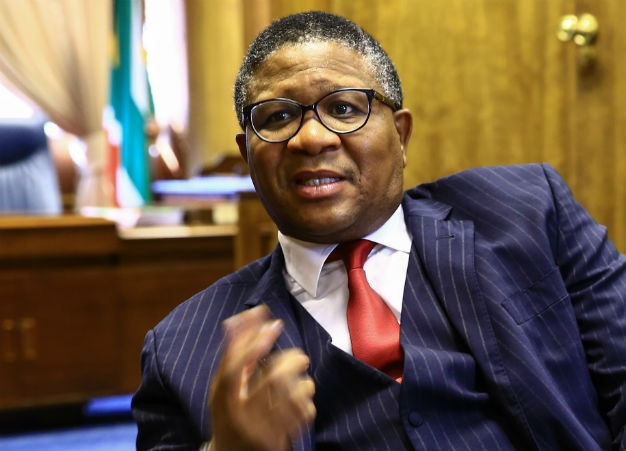 Fikile Mbalula is seen during an interview in his