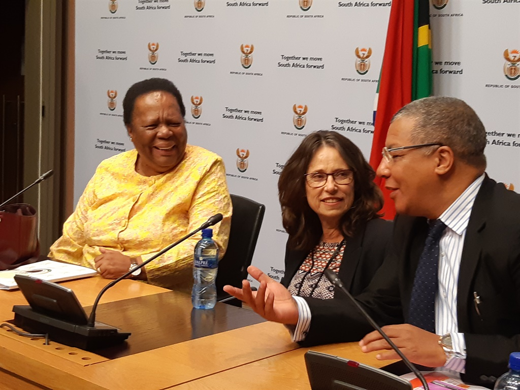 Minister of Higher Education and Training Naledi Pandor, Dr Diane Parker, deputy director general for universities and NSFAS administrator Dr Randall Carolissen (Jenni Evans, News24)