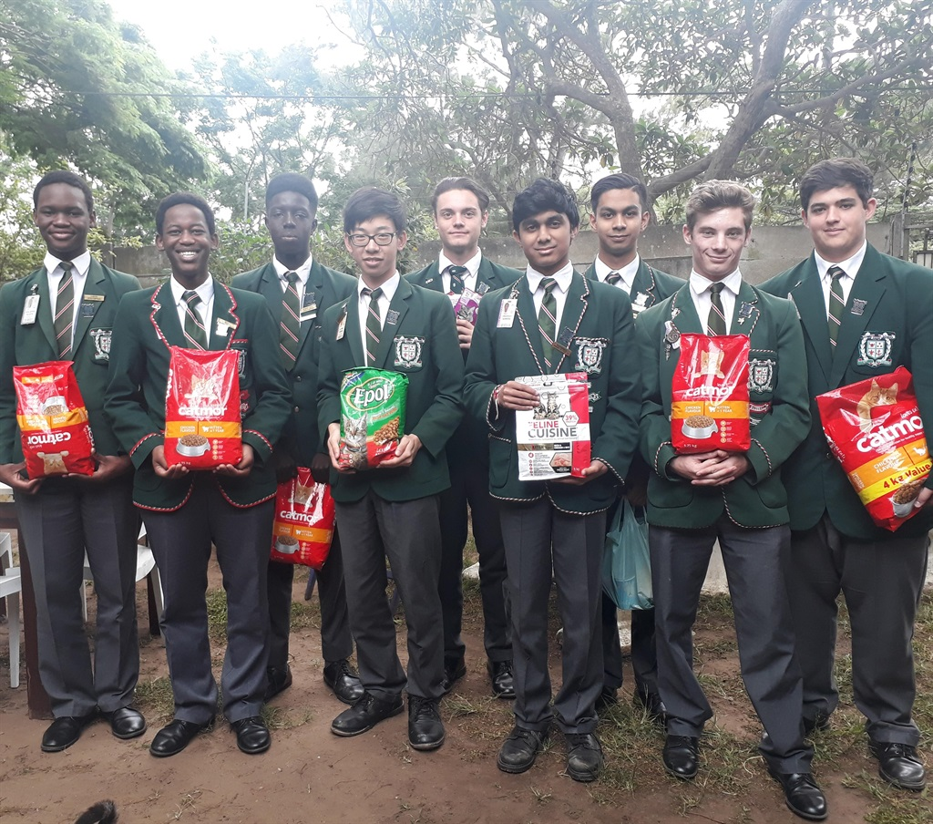 Seen with the donations are (back, from left) Gabriel K. Mensah, Christopher Wasserman, Aaryikh Rawthee, Dagan Beugger, (front, from left) Mpilo Ngcoya, Asanda Mngadi, Li-Yang Chuang, Hridhay Somera, and Michael Jordan.PHOTO: supplied