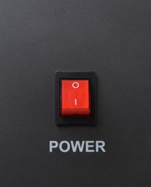 A power switch in the off position