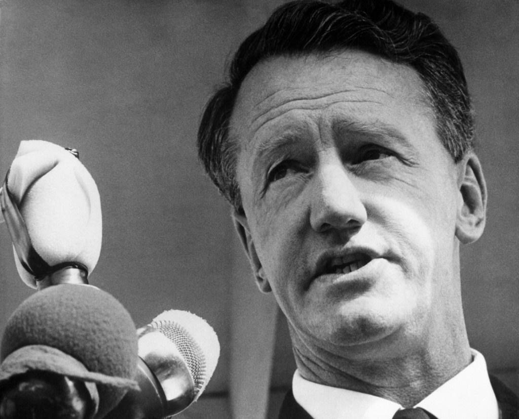 Ian Smith, Rebel Prime Minister of Rhodesia, addre