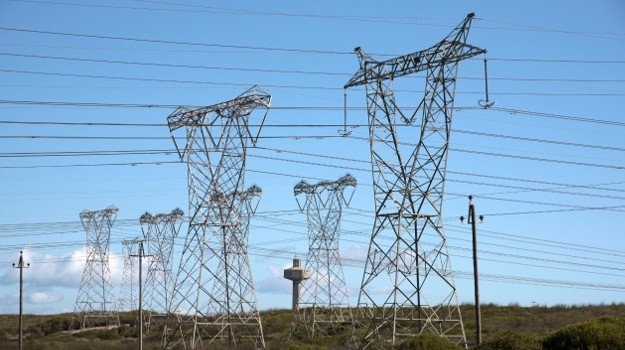 Power lines feed electricity to the national grid