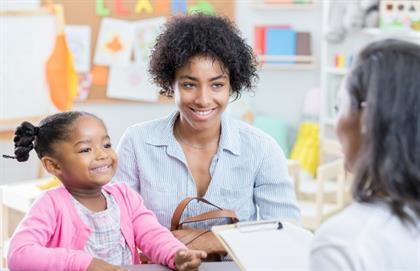 Parent talking to teacher