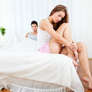 Young couple having relationship difficulties in t