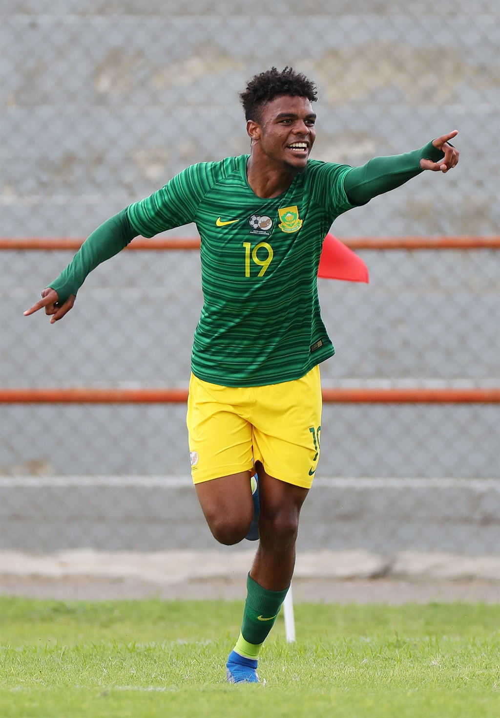 Lyle Foster of South Africa celebrates goal during