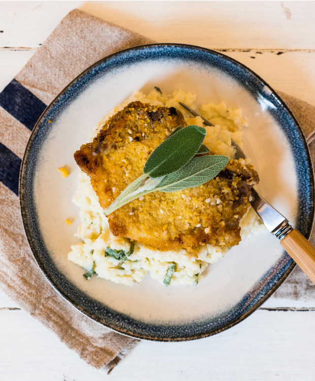 crumbed pork and apple sage mash