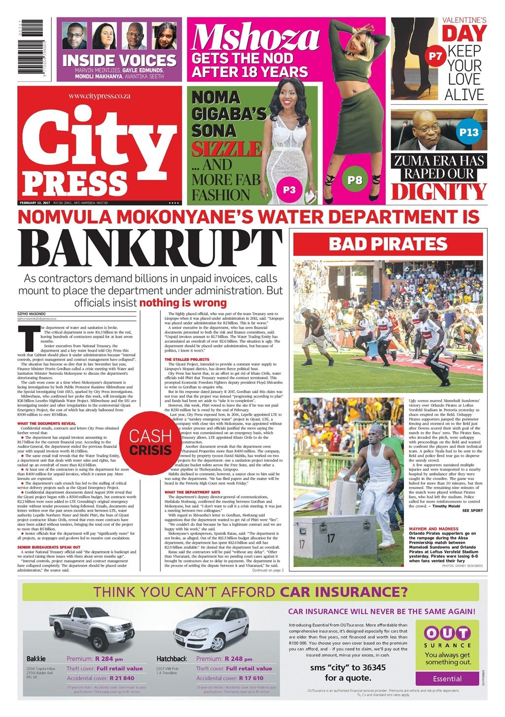 The City Press front page of February 12 2017