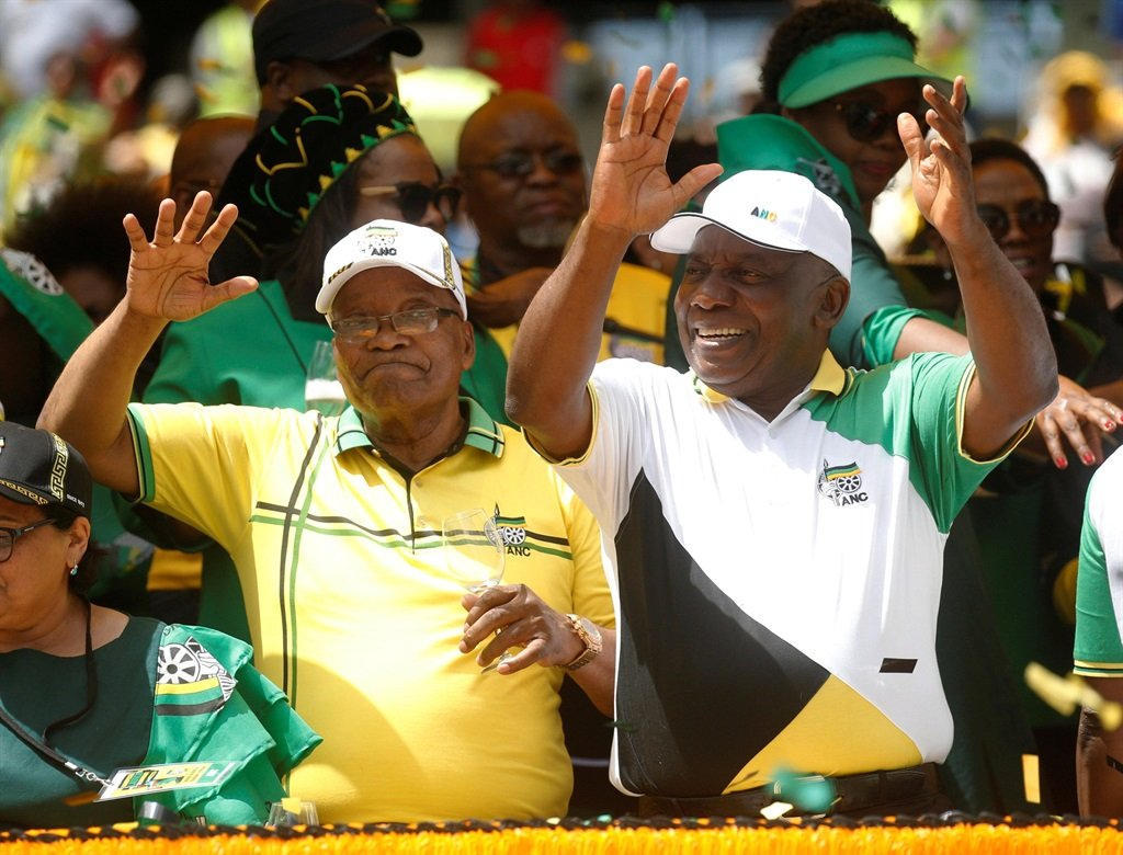 Former South African President Jacob Zuma and President Cyril Ramaphosa during the election manifesto launch of the African National Congress in Durban on Saturday. With Zuma wielding influence and authority over Ramaphosa, it is unclear whether any attempt to prosecute the networks at the heart of state capture can go ahead. And their alliance has arguably left the work of the Zondo Commission without political protection and open to attack by powerful lobbies.PHOTO: REuters