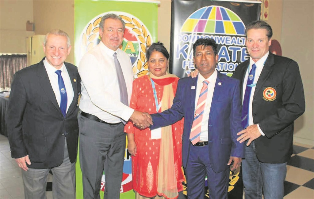 At the opening ceremony of the Commonwealth Karate Championships 2018 is (from left) Billy Brennan, Barry Hendriks, Anita Pillay, Sonny Pillay and Tokey Hill.PHOTO: supplied
