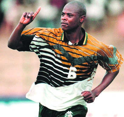 2c1f4c420c85 ICONIC Chippa Masinga s trademark celebratory gesture after scoring. Many  will remember him doing this after scoring the goal against Congo  Brazzaville that ...