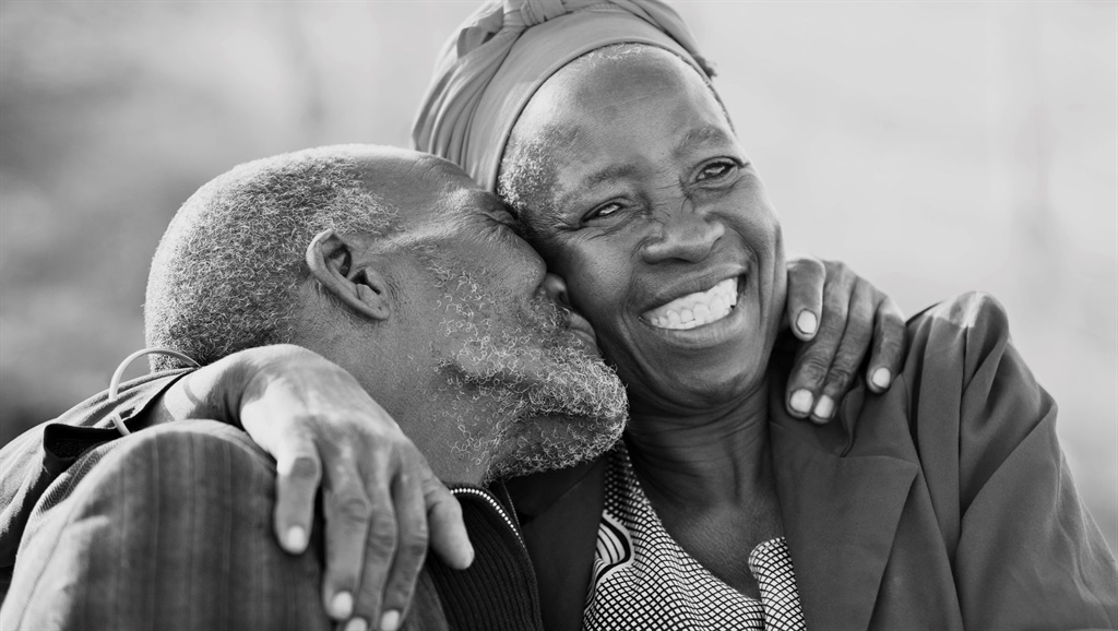 in love African American couple in their eighties