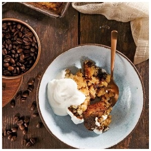 Baked pudding with coffee
