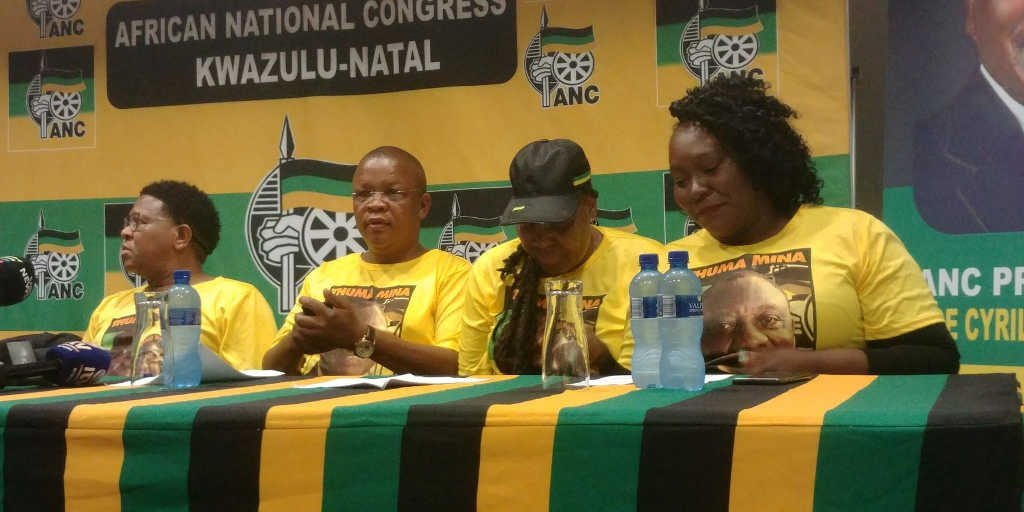Senior ANC officials including elections head Fikile Mbalula. (Kaveel Singh/News24)