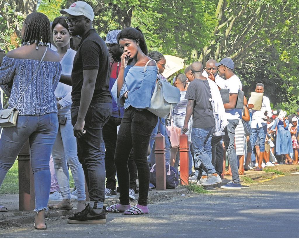 Students queue to register at UKZN's Pietermaritzburg campus on Monday.