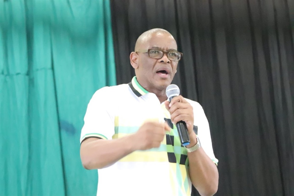 ANC secretary general Ace Magashule speaking at the ANC's 107 year celebrations in the Harry Gwala region of KZN Picture: Twitter/@MYANC