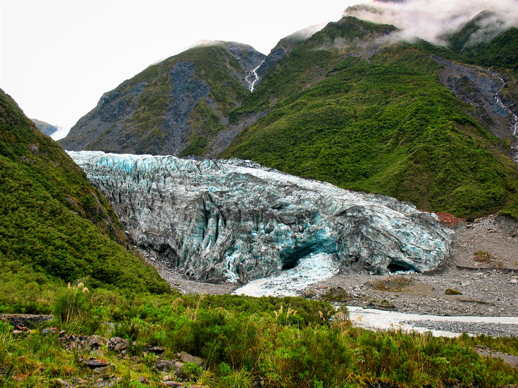 View of Fox Glacier as we hike towards it, summer,