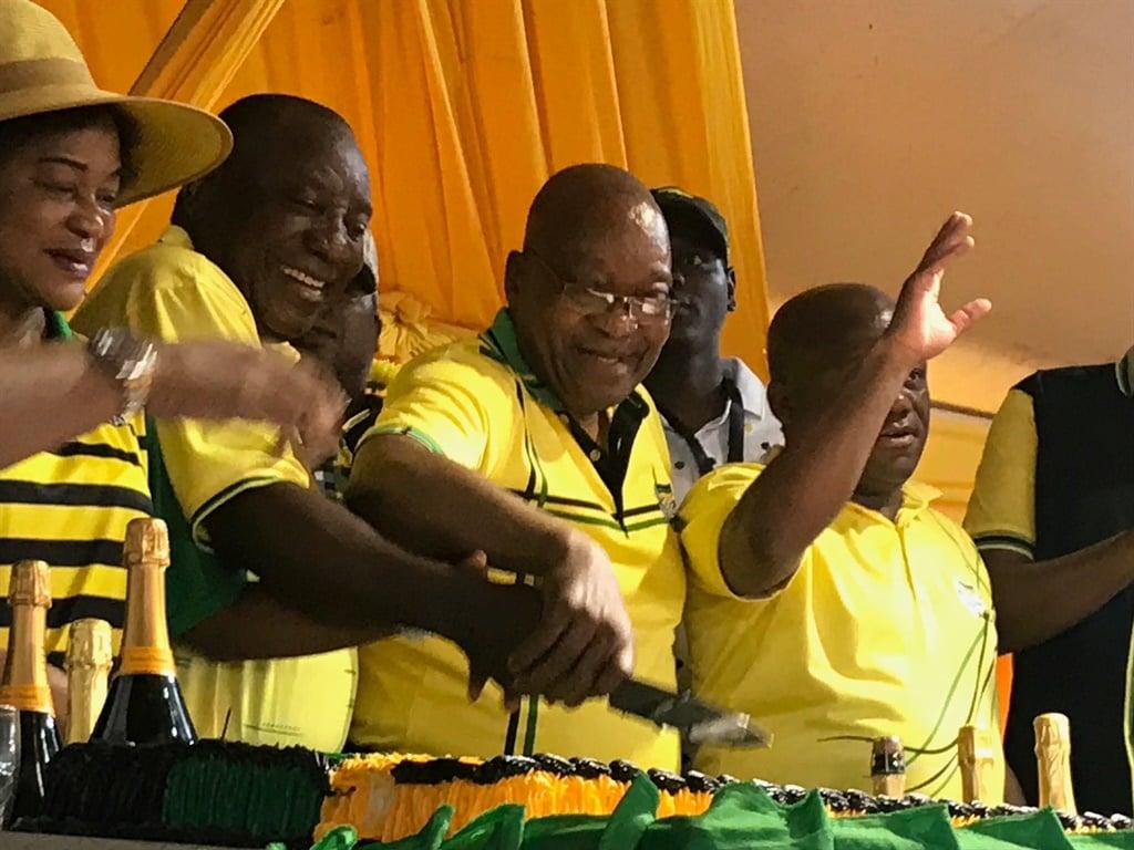 President Cyril Ramaphosa and former president Jacob Zuma celebrating 107 years of the ANC. (Tshidi Madia, News24)
