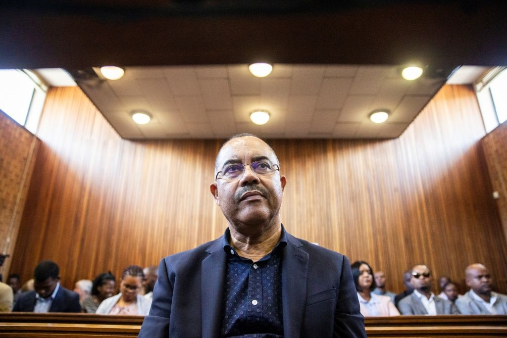 Manuel Chang, former finance minister of Mozambique, appears at the Kempton Park Magistrates court. (Photo by Wikus De Wet / AFP)