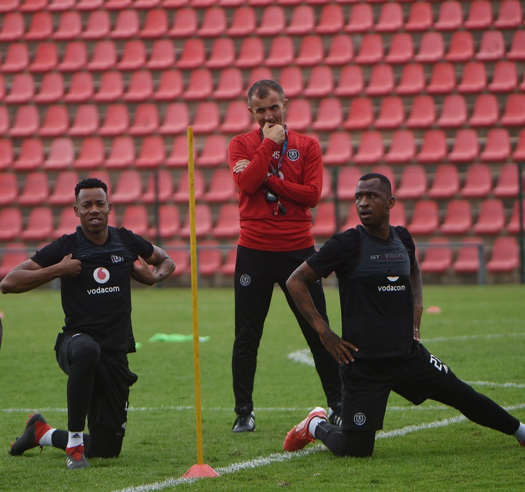 Orlando Pirates captain, Happy Jele with the coach, Milutin Sredojevic and Alfred Ndengane during the CAF Champions League training on January 10, 2019. Picture: Thabang Lepule/Orlando Pirates Football Club