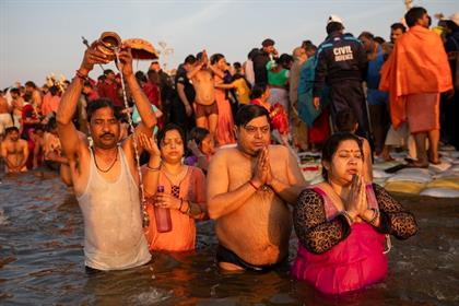 Hindu devotees take a dip on auspicious Makar Sank