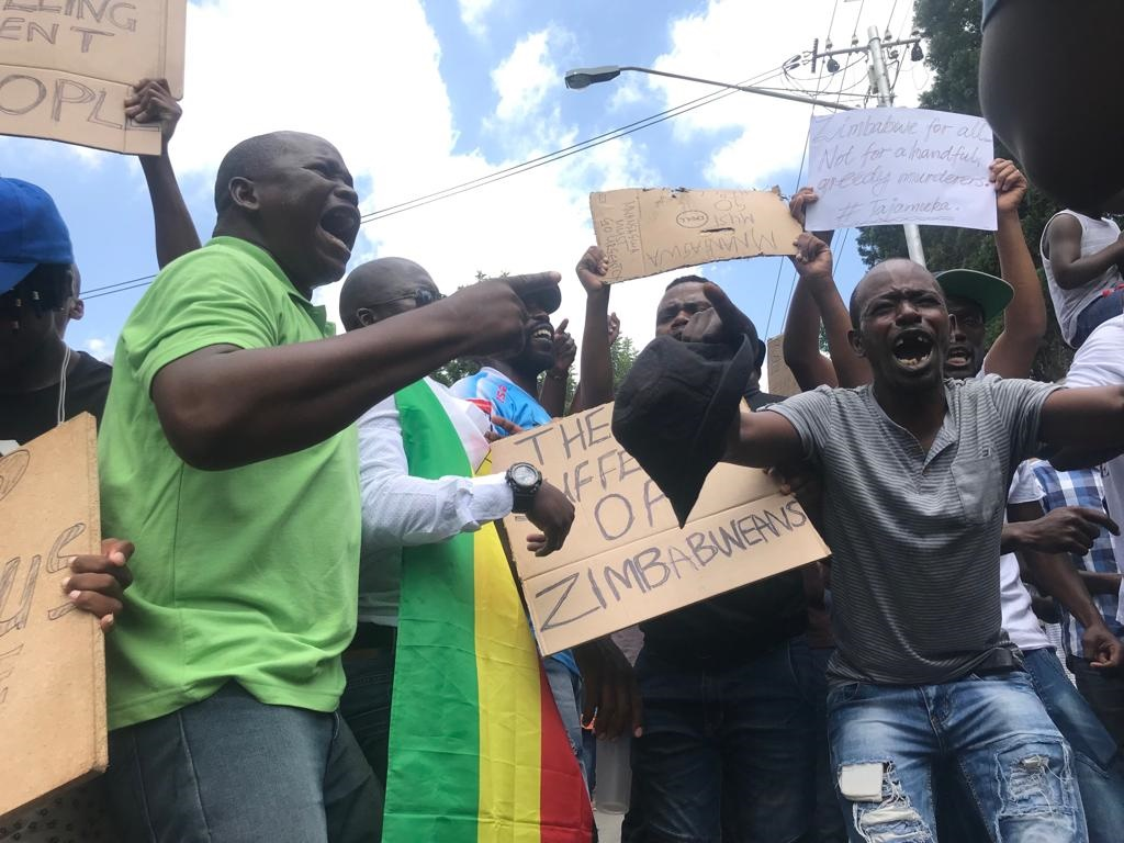 A group of Zimbabwean people protesting outside Zimbabwe's embassy in Pretoria. (Alex Mitchley/News24)