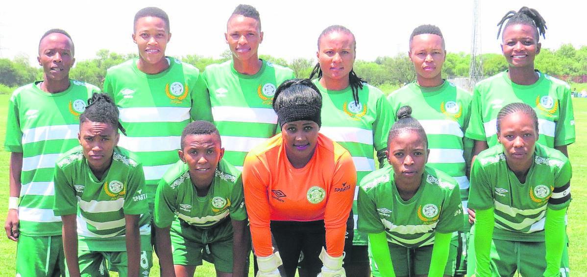 Bloemfontein Celtic women's football team players are from the left, front: Mpho Sesedinyane, Kelebogile Mokhuoa, Cleo Chabaku, Phumeza Ngogodo and Melinda Kgadiete; back: Miss Sethunya, Shiwe Nogwanya, Pana Mohlakoana, Zihle Chabaku, Dieketseng Potsane and Maloro Motsoeneng.Photo: Teboho Setena