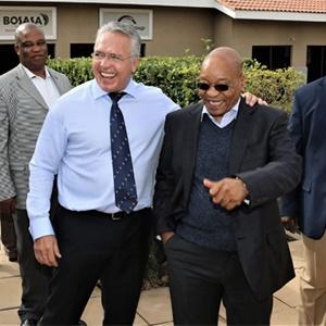 Former president Jacob Zuma with Bosasa CEO Gavin Watson. (Supplied)