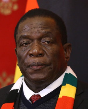 President of Zimbabwe Emmerson Mnangagwa is during