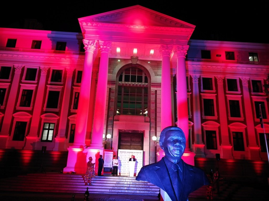 Parliament was covered in red light to commemorate World TB Day as South Africans also grapple with the coronavirus.