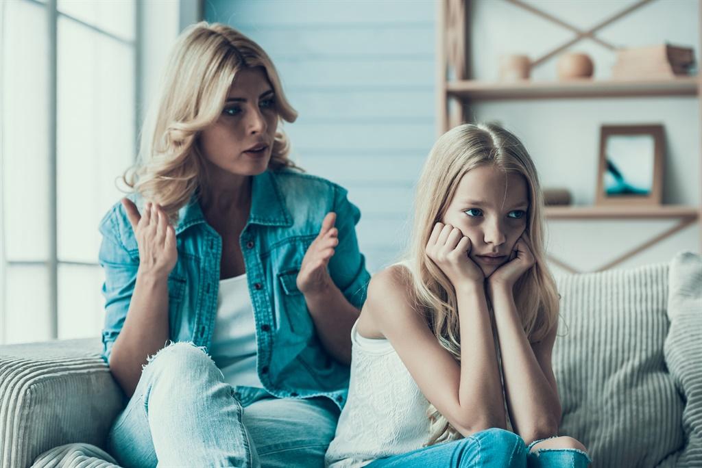 Blonde adult mother brings up naughty girl teenage