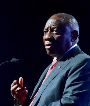 President Cyril Ramaphosa speaking at the South Af