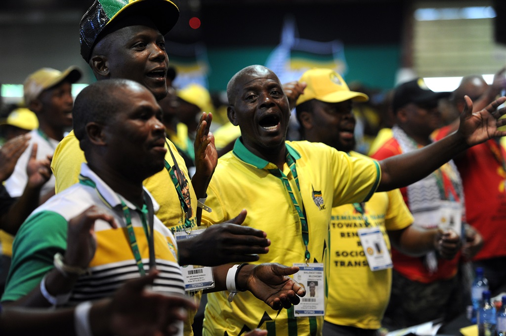 Delegates singing before the announcement of the new ANC leadership at the party's Nasrec conference in December 2017. Picture: Felix Dlangamandla/Netwerk24