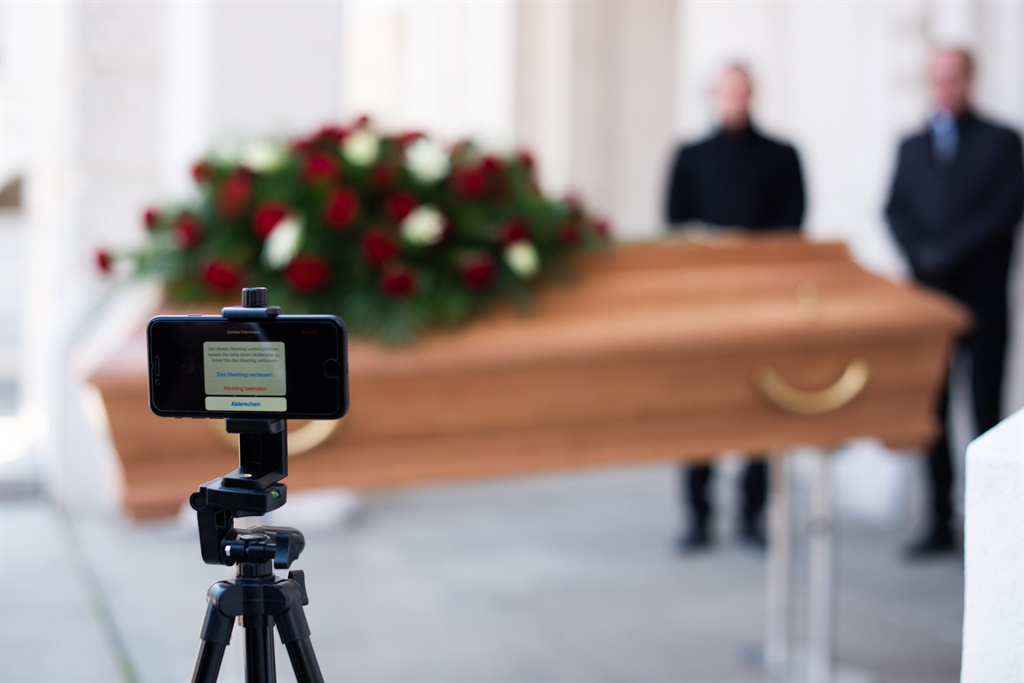 VIENNA, AUSTRIA - MARCH 24: Employees of Bestattung Himmelblau undertakers rehearse the livestreaming of an upcoming funeral on March 24, 2020 in Vienna, Austria. Because the Austrian government has temporarily banned all gatherings of more than five people as a measure to slow the spread of the coronavirus, undertakers are offering the livestreaming service as a means for mourners to still take part live in funerals.