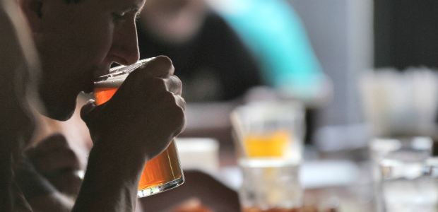drinking craft beer from a glass