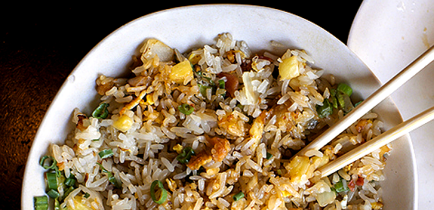asian egg fried rice with bacon