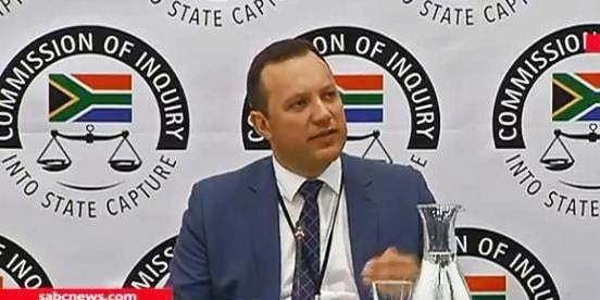 Adriaan Basson testifies before the commission into state capture. Picture: Screengrab
