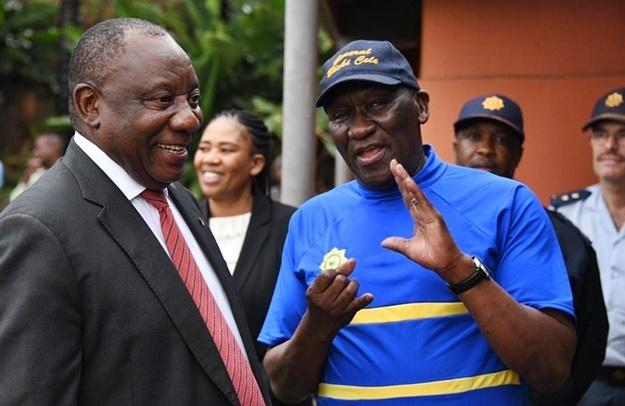 Cyril Ramaphosa and Police Minister Bheki Cele